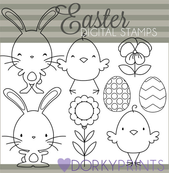 Easter Bunny Blackline Spring Clipart