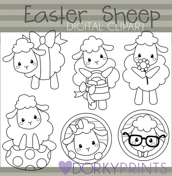 Fluffy Sheep Black Line Spring Clipart