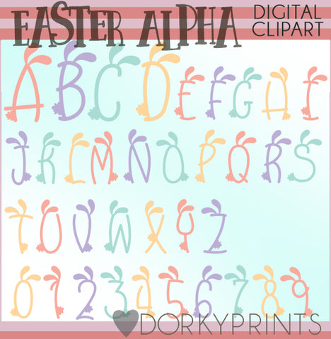 Bunny Ears Font and Symbols Clipart