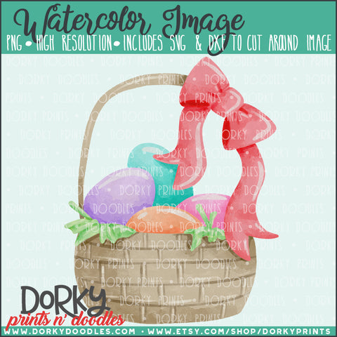 Easter Basket Watercolor PNG