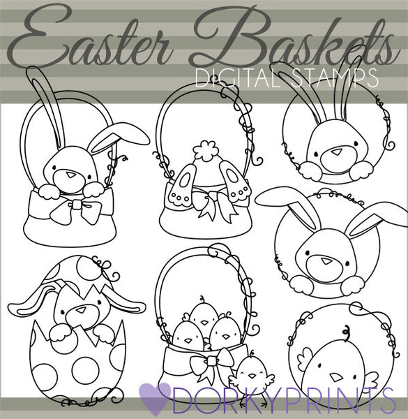 Easter Basket Blackline Spring Clipart