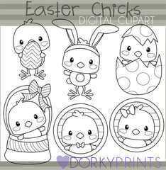 Easter Chicks Black Line Spring Clipart