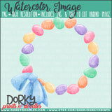 Easter Egg Wreath Watercolor PNG