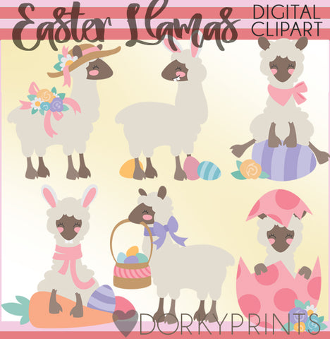 Easter Llama Spring Clipart