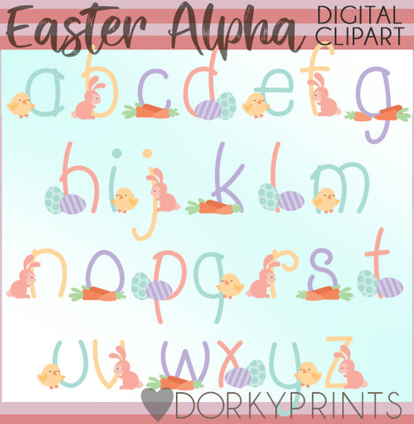 Easter Font and Symbols Clipart