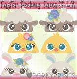 Peeking Easter Animals Spring Clipart