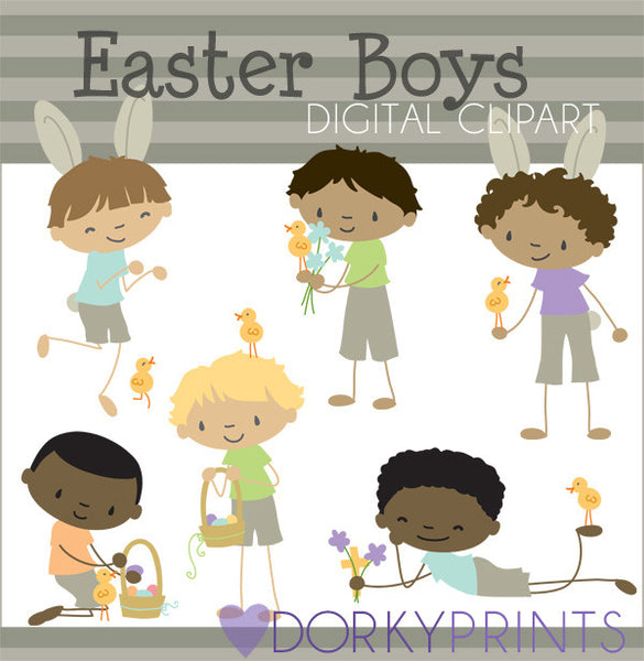 Easter Boys Spring Clipart
