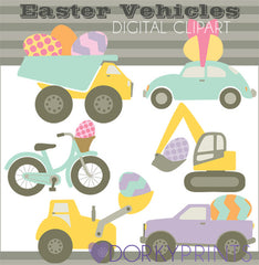 Easter Egg Vehicles Spring Clipart