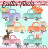Vintage Trucks for Easter and Spring Clipart