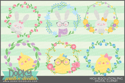 Cute Easter Wreaths Spring Clipart