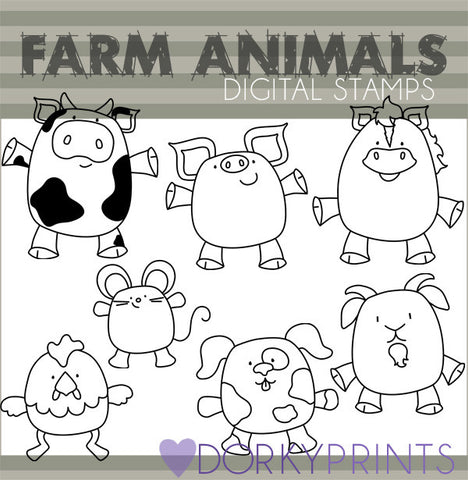 Black Line Farm Animals Clipart