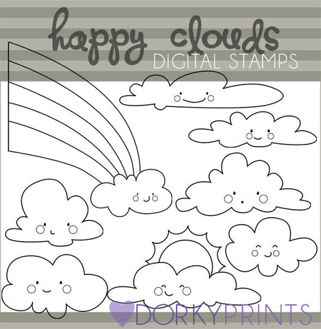 Happy Clouds Black Line Summer Clipart