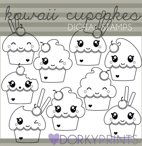 Kawaii Cupcakes Blackline Food Clipart