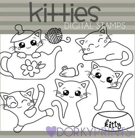Kitty Black Line Animals Clipart