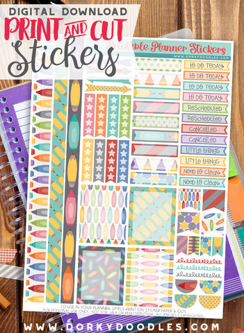 School Header Stickers Planner Printable