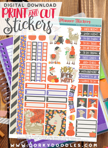 Llamaween Print and Cut Planner Stickers