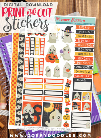 Little Ghost Print and Cut Planner Stickers