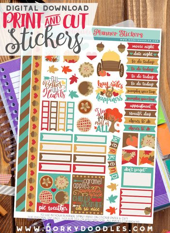 Fall Harvest Print and Cut Planner Stickers