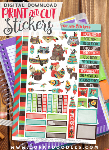 Watercolor Animal Tribe Print and Cut Planner Stickers