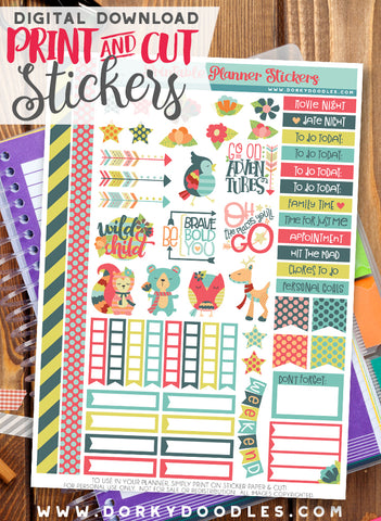 Colorful Animal Print and Cut Planner Stickers
