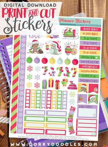 Christmas Cuties Print and Cut Planner Stickers