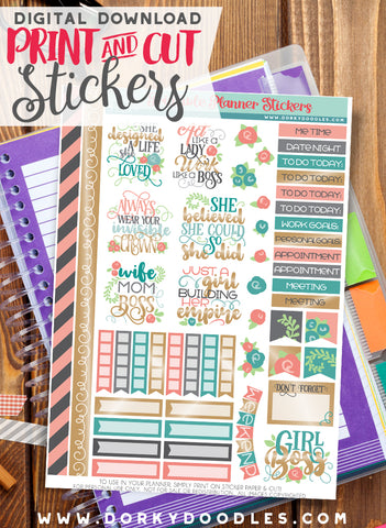 Girl Boss Print and Cut Planner Stickers