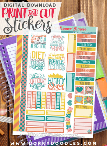Diet Print and Cut Planner Stickers