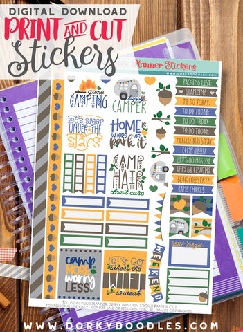Camping Print and Cut Planner Stickers