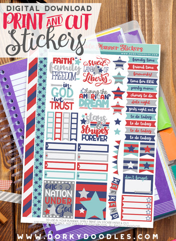 American Dream Print and Cut Planner Stickers