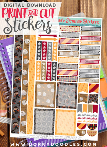Wizard Header Print and Cut Planner Stickers