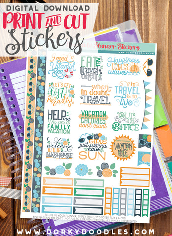Travel Print and Cut Planner Stickers
