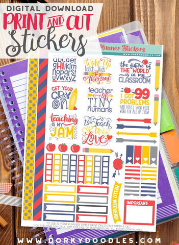 Teacher Print and Cut Planner Stickers