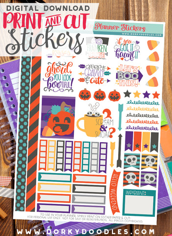 Halloween Cuties Print and Cut Planner Stickers