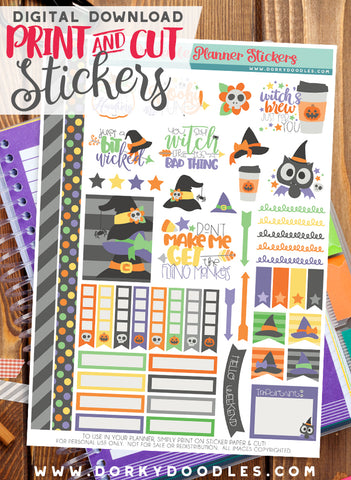 Witch Cuties Print and Cut Planner Stickers
