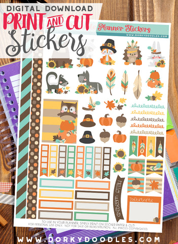 Fall Animals Print and Cut Planner Stickers