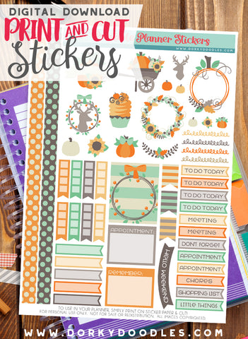 Harvest Wreath Print and Cut Planner Stickers