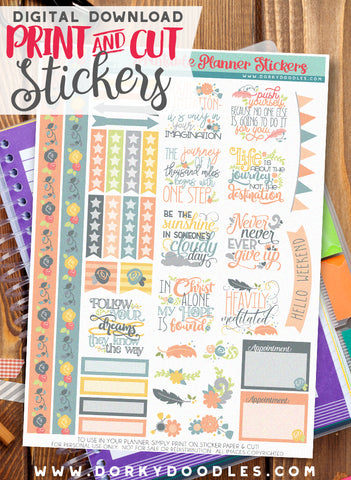 Never Ever Give Up Print and Cut Planner Stickers