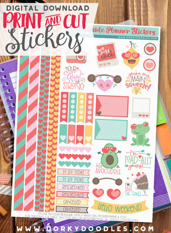 Let's Avocuddle Print and Cut Planner Stickers