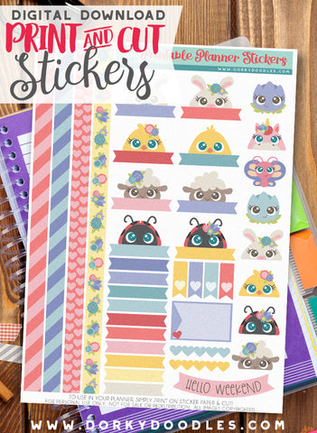 Easter Peekers Print and Cut Planner Stickers