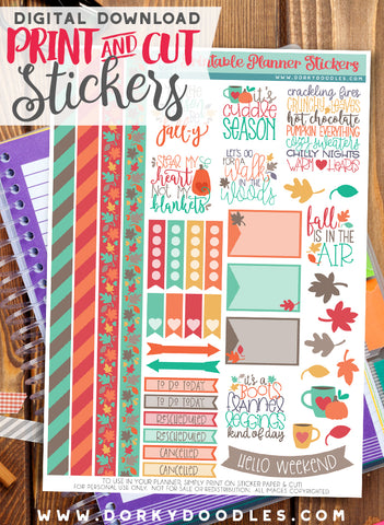 Fall is In the Air Print and Cut Planner Stickers