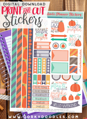 Hey There Pumpkin Print and Cut Planner Stickers