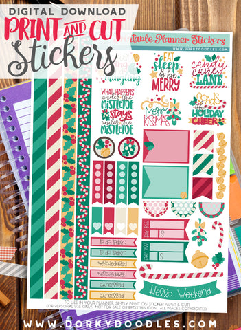 Merry Kissmas Print and Cut Planner Stickers