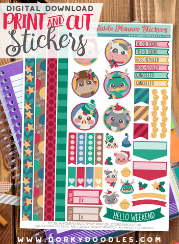 Barnyard Christmas Print and Cut Planner Stickers