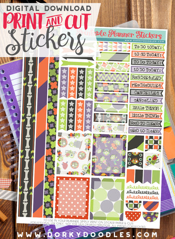 Zombie Header Print and Cut Planner Stickers