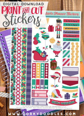 Simply Christmas Print and Cut Planner Stickers
