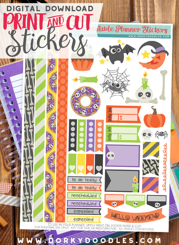Simply Halloween Print and Cut Planner Stickers