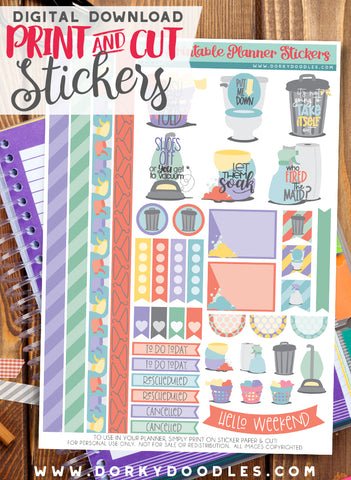 Chores and Cleaning Print and Cut Planner Stickers