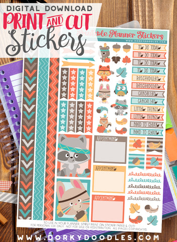 Autumn Animal Print and Cut Planner Stickers