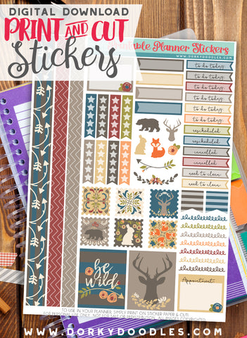 Woodland Stamp Print and Cut Planner Stickers