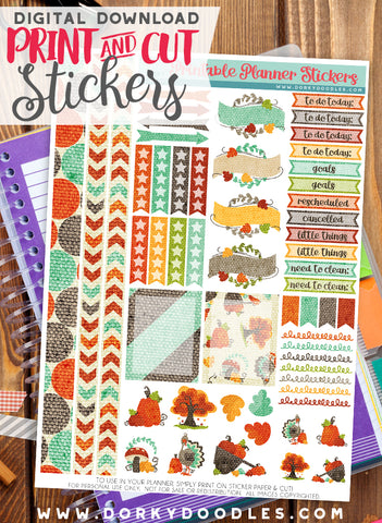Thanksgiving Canvas Print and Cut Planner Stickers